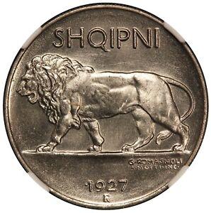 1927-R Albania 1/4 Leku Stainless Steel Coin - NGC MS 66 - KM# 3