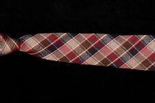 """Vintage Mens ROOSTER Tie, Brown Tan Burgundy Tartan Plaid Wool 56 x 3"""""""
