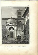 Stampa antica RAVENNA Sepolcro di Dante Alighieri 1834 Old print Engraving