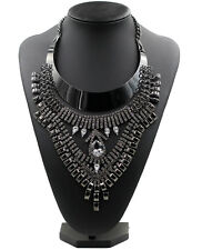 Black Gun Plated Diamond Stone Chain Pendant Womens Statement Necklace