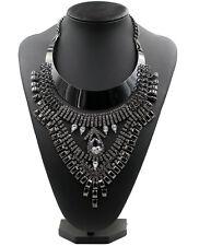 Black Gun Plated Diamond Stone Chain Pendant Womens Statement Necklace