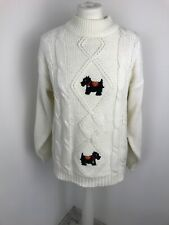 By Design Ivory Jumper Dog Applique Size S M Cable Chunky Knit Christmas