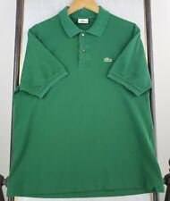 LACOSTE Size 5 Medium Mens Green Polo Shirt Short Sleeve Pique Pima Cotton Golf
