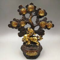 Chinese Antique Old copper hand-made gilded plum tree incense burner