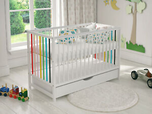 Baby Cot Bed 120x60cm with Covered Drawer & FREE Deluxe Aloe Vera Mattress