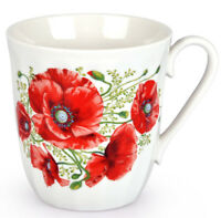 12 fl oz Porcelain Mug w/ Poppies Made in Russia Coffee Tea Mug Flowers Print