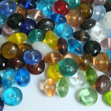 Glass Bead Mix Assorted Transparent Discs 10x15mm Bulk Pack 1/4kg Made in India.