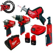 Milwaukee 12V M12 4Pc Brushless Drill Hackzall Wrench / Brushed Ratchet Kit 2Ah