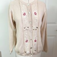 Tulchan Cardigan Size M 12-14 Oatmeal Sheep Flowers Embroidery Cottagecore
