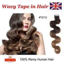 """18"""" 40g20pcs Charm Wavy Tape in 100% Remy Human Hair Extensions #T2/12 UK Stock"""