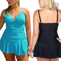 Women Plus Size Control Tummy Costume Tankini Swim Dress Bikini Bathing Swimsuit