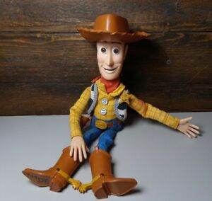 "Toy Story Hasbro 12"" Pull String Woody Doll 2007 working with hat Disney Pixar"