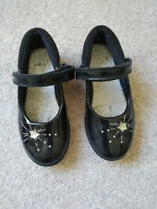 Clarks Girls Black patent leather Shoes 9G