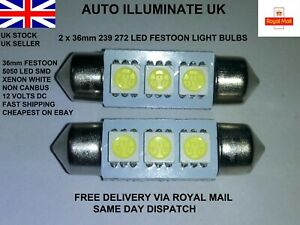 2x 36mm Car Led Smd 239 272 C5W White Number Plate Festoon Light Bulbs Lamps 12V