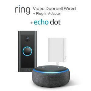 Ring Video Doorbell Black Wired + Plug-In Adapter+ Echo Dot (3rd Gen)