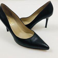 BRUNO MAGLI Gretta Matte Black Leather Pointy Heels Pumps Italy Size 6.5