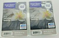2x VALUE PK TAHITIAN WOODS Better Homes & Gardens 24 Total Scented Wax Melts