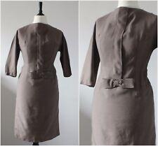 Vintage 1950s Original Wool Dress Winter Bow Madmen Rockabilly Day Dress 14