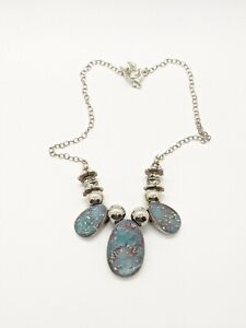 Artisan Turquoise Blue Resin Acrylic Statement Necklace