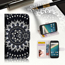 Black AZTEC TRIBAL Phone Wallet Case Cover For Alcatel Pop Star -- A005