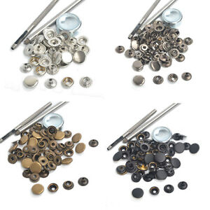12.5/15/17mm 15 Sets Sewing Leather Snaps Fastener Press Studs Kit w/Punch Tool