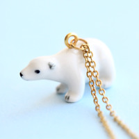 Polar Bear Necklace Porcelain Charm Hand Painted Pendant & Gold Chain