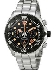 Bulova Men's 98B244 Sea King Chronograph Black Dial Stainless Steel Watch