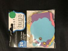 24 PASTEL ASSORTED TAGS  WITH STRING GREAT FOR SCRAPBOOKS, CARDS PRESENTS & MORE