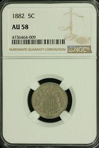 Shield Nickel. 1882 NGC AU 58. Lot # 4736464-009