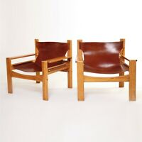 MidCentury BORGE MOGENSEN Tan Leather Pair Lounge Armchairs Vintage Retro sofa