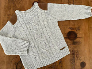 Young Boy 2-3 years F&F Light Grey Cable Knit Winter Jumper Good Cond Combine