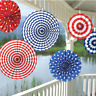 6 PAPER FANS RED WHITE & BLUE PARTY HANGING DECORATIONS AMERICAN USA  4TH JULY