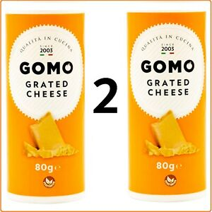 2 BOTTLES - UK STOCK - Gomo Grated Cheese Italian FRESHEST 80g x 2 Vegetarian