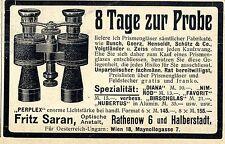 Ópticos manicomio Fritz saran Rathenov histórico anuncio 1906