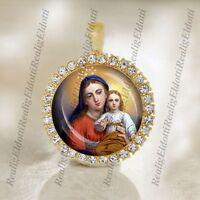 Madonna Virgin Mary, Child Jesus Religious Christian Orthodox Gold Medal Pendant