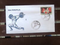 SPANISH ESPANA BARCELONA OLYMPICS STAMP FIRST DAY COVER 1992 WEIGHTLIFTING