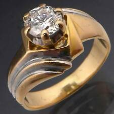 Bit Fancy 18k Solid Yellow GOLD & DIAMOND SOLITAIRE DRESS RING Val=$5745 Sz N1/2