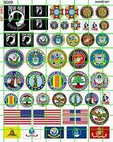 9008 DAVE'S DECALS US MILITARY LOGO POW MIA VFW AL ASSORTED FLAG AND LOGOS