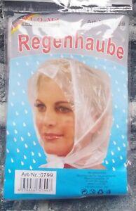 4 Stück Motorhaube schützen Frisur Regen Hut Kunststoff  für Frauen Clear White