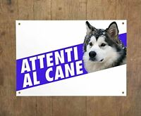 ALASKAN MALAMUTE 1 Attenti al cane Targa cartello metallo Beware dog sign metal