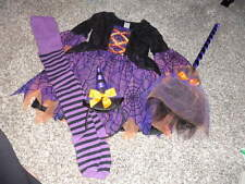 GYMBOREE XS 3-4 WITCH COSTUME DRESS TIGHTS SZ 5-7 HEADBAND AND BROOM