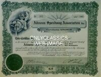 1925 ALTOONA SPEEDWAY BOARDTRACK STOCK CERTIFICATE POSTER AUTO RACING INDY 500