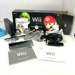 Nintendo Wii Mario Kart Pack Black Console (NTSC-U/C (US/CA) Bundle With 3 Games