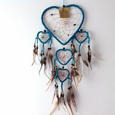 NEW TURQUOISE BLUE HEART DESIGN FEATHER DREAM CATCHER NATIVE AMERICAN MOBILE