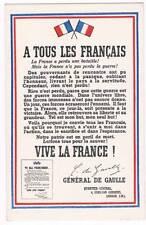 Original Postcard 1943 WW2 A Tous Les Francais France Libre