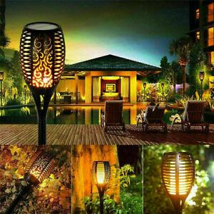 2x LED Flame Solar Torch Light Waterproof Flickering Dancing Path Garden Lam New