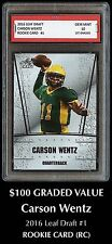 $100 CARSON WENTZ 2016 LEAF DRAFT 1ST GRADED 10 ROOKIE CARD PHILADELPHIA EAGLES