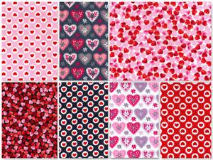 ROSE & HUBBLE SOFT POPLIN FABRIC VALENTINES DAY HEARTS ROMANCE LOVE AMORE CUPID