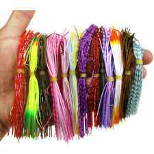 60x Silicone Skirts Windless Rubber Squid Soft Fishing Lures Beard Jig Baits US