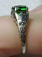 *Green Emerald* Solid Sterling Silver Filigree Edwardian Ring {Made To Order}#41